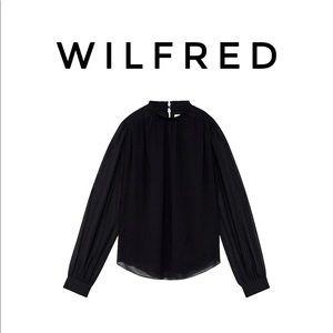 Aritzia Wilfred Black High Neck Blouse
